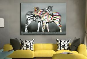 Zebra-Stretched-Canvas-Prints-Framed-Hanging-Wall-Art-Giclee-Home-Decor-Painting
