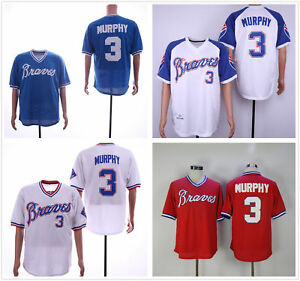 pretty nice 40e26 1958d Details about Men's BP Throwback Pullover Jersey White/Royal/Red Atlanta  Braves #3 Dale Murphy