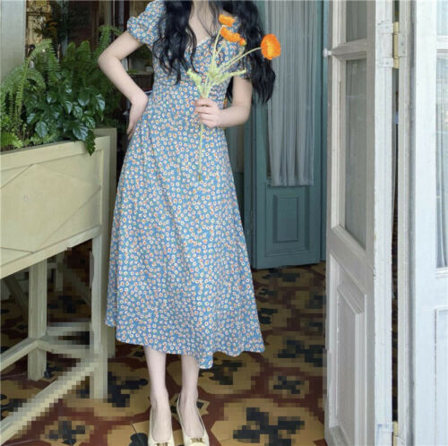 French Style Women Fairy Chiffon Floral Dress A-Line V-Neck Puff Sleeve Beach D