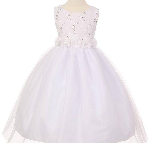 Flower Girl & Communion Dresses Cinderella Couture 1240 --Color White--Size 8