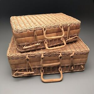 Vintage Wicker Suitcases Small and Medium Picnic Basket Rattan Nesting 1960s