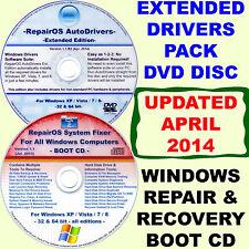 WINDOWS XP/Vista/7/8/8.1 DISK PACK: Repair & Recovery BOOT CD + Drivers DVD Ext.