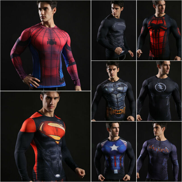 Mens Marvel T Shirt Compression Superhero Base Layers Tight Sport Top Jersey