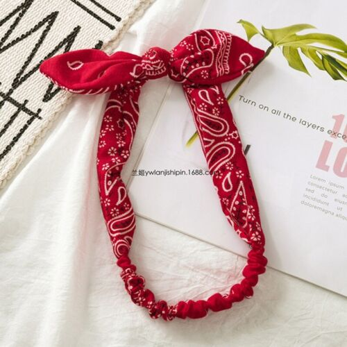 Women Girl boho Hip hop Paisley Bandana Hair Band wire Bow Headband Scarf SALE