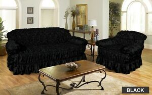 Jacquard BLACK Sofa Cover Settee Cover Available in 1 , 2 , 3 Seater ...