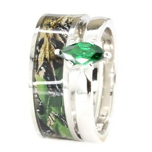 2pc Green Camo Stainless Steel Band 925 Sterling Silver Emerald Wedding Ring Set