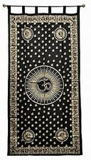 Curtain OM Chakra Healer Mantra Gold and Black Wall Hanging 100% Cotton #CT201GD