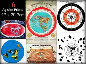Job-Lot-Wholesale-Bundle-of-6-Flat-Earth-World-Maps-And-Poster-Prints