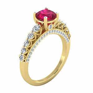 2-00-Ct-Round-Diamond-Natural-Ruby-Ring-14K-Yellow-Gold-Wedding-Rings-Size-M