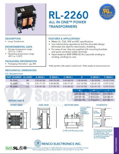 Renco RL-2260-130-24 110V 220V 24V 130W AC Power Supply Transformer 12V