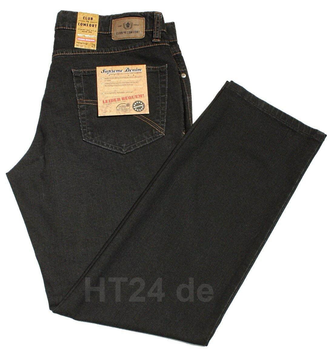 Club of Comfort Stretch Jeans James 4631 (2) Grigio Nero Mis. 48 a 60 FivePocket