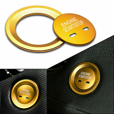 Alloy Gold Engine Stop Button w// Decor Ring Trim Cover For Volkswagen Cadillac