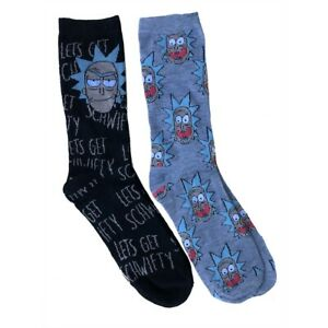 Rick-And-Morty-2-Pack-Let-039-s-get-Schwifty-Black-Crew-Socks-2-Pack
