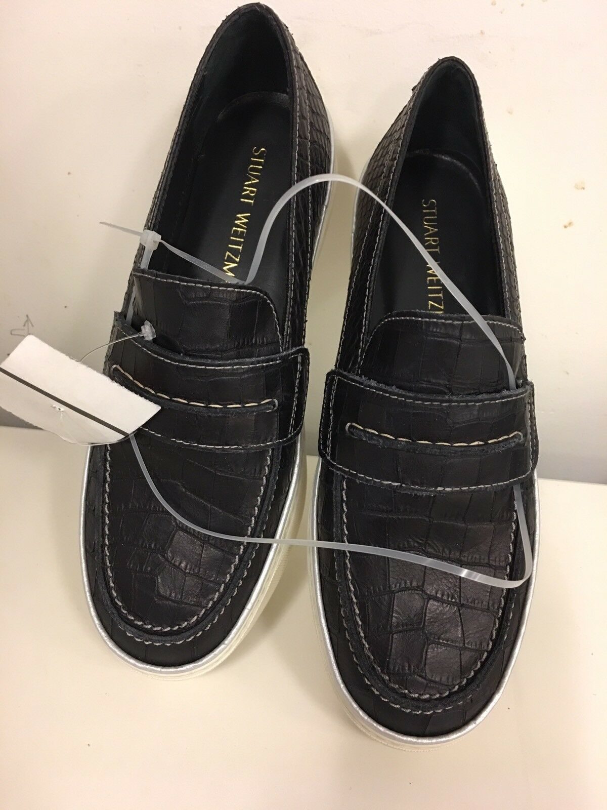 New Stuart Weitzman Lounge Slip On Loafer scarpe da ginnastica Nero Croco 7.5 38