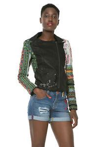 Desigual Black Faux Leather Lightweight Chaq Tais Jacket 10 12 14 38 40 £169 NWT