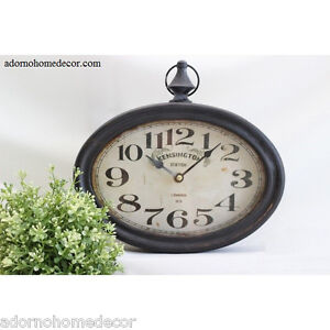Image Is Loading Small Oval Metal Wall Clock Vintage Numbers Chic