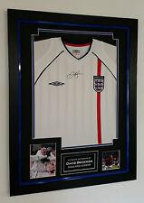*** Rare DAVID BECKHAM of England Signed Shirt Display *** AFTAL DEALER CERT
