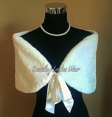 Ivory Faux Fur Stole/Bolero/Jacket/Shrug/Wrap/Shawl Satin Ribbon 50's Style