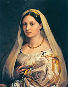 Oil-painting-Raphael-portrait-of-a-lady-beautiful-young-woman-figures-canvas