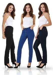Ladies-Straight-Leg-Denim-Womens-Pants-Stretch-Regular-Fit-Jeans