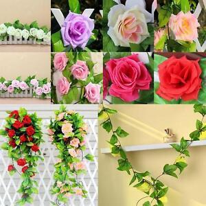 8Ft-Fake-Rose-Garland-Silk-Flower-Rattan-Vine-Ivy-Home-Wedding-Garden-Decor-BR