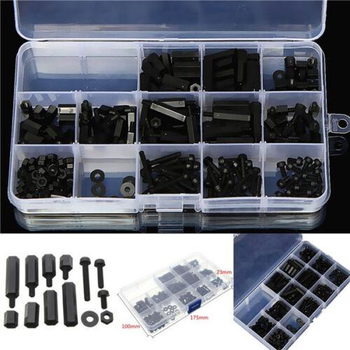 Set 260 Distanziatori plastica M3 Nylon neri Hex Screw Nut M-F Stand-off