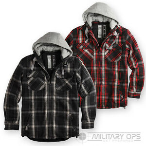 Image Is Loading Mens Checked Hooded Fleece Fur Lined Jacket Lumberjack