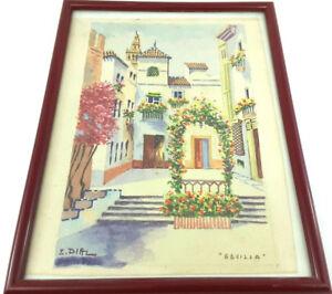 Vintage-Signed-E-DIAZ-Watercolor-Sevilla-European-Street-Scene-Impressionist