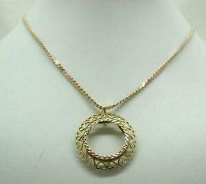 Lovely heavy 9 carat gold full sovereign pendant mount and chain ebay image is loading lovely heavy 9 carat gold full sovereign pendant aloadofball Image collections