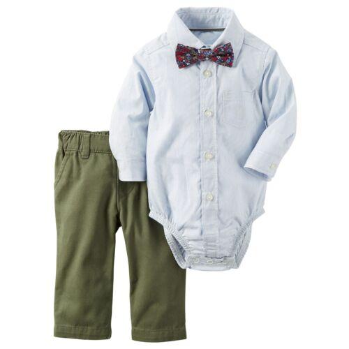 NWT Carters Infant Boy Dress Shirt Tie Pants CHURCH Outfit Set NB-24 Mo Wedding