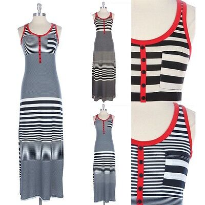 All Over Striped Long Maxi Dress with Chest Pocket Contrast Trim Casual S M L