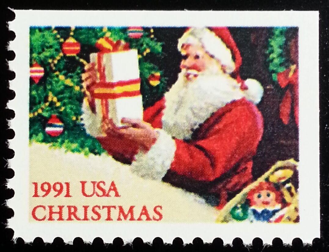 1991 29c Santa & Christmas Tree, Booklet Single Scott 2