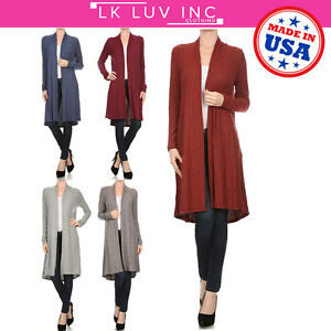 Women-Open-Front-Casual-Cardigan-Long-Sleeve-Knitted-Casual-Coat-Plus-Size-USA