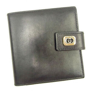 1ee40c57758bfb Image is loading Gucci-Wallet-Purse-Bifold-G-logos-Black-Silver-