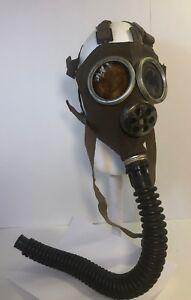 Belgium-SBA-Brown-Textured-Rubber-VTG-1930-1940-039-s-WWII-Hosed-Gas-Mask-Belgian