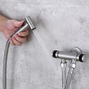 Edelstahl-Duschkopf-Bidet-Adapter-Bad-Handbrause-mit-Sprayer-Schlauch-Wasserhahn