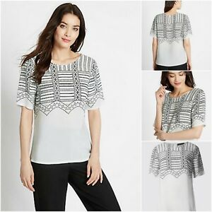 NEW-MARKS-amp-SPENCER-M-amp-S-LADIES-TOP-TUNIC-IVORY-BLACK-ABSTRACT-SUMMER-SIZE-6-24