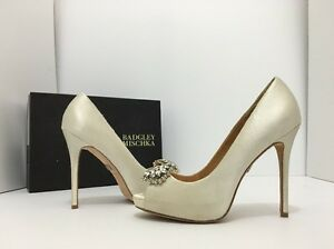 700551b1d842 Badgley Mischka Jeannie Ivory Satin Women s Evening Platform Heels ...