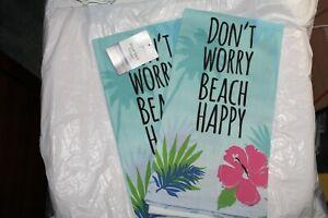 2-Dont-Worry-Beach-Happy-Flour-Sack-Towel-Mainstays-Blue-Floral