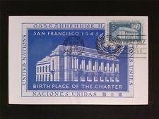 UNO NY MK 1952 SAN FRANCISCO MAXIMUMKARTE CARTE MAXIMUM CARD MC CM c7005