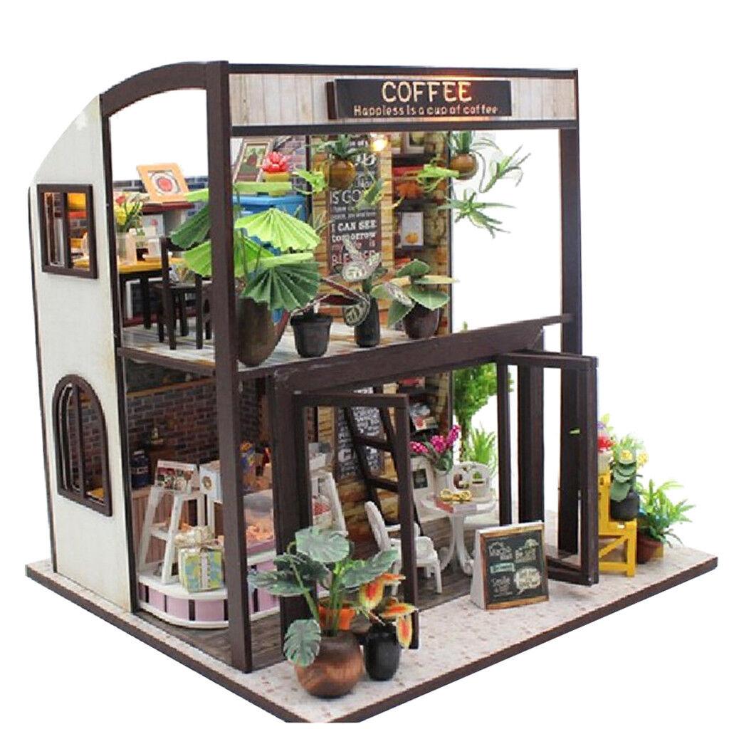 Prettyia 1 24 casa de muñecas en miniatura Diorama Hazlo tú mismo Casa De Café Con Muebles