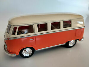 VW-Bus-Combi-Volkswagen-1962-orange-et-beige-13cm-neuf-metal