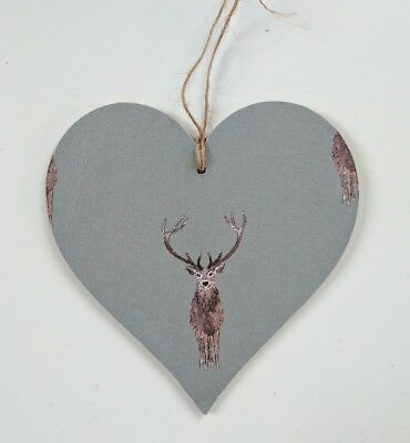 Wooden Hanging Heart in Sophie Allport Christmas Night Owl and Mistletoe 10cm