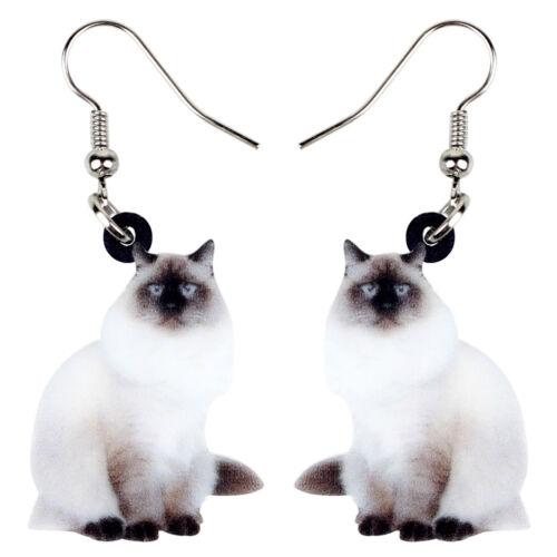 Acrylique Assis Chat Chaton Boucle d/'oreille Grosse Longue Goutte Pet Bijoux pour Femmes Fille Cadeau