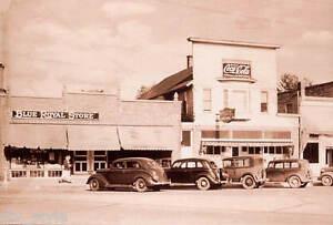 Coca-Cola-postcard-old-cars-Blue-Royal-Store-unused-mint