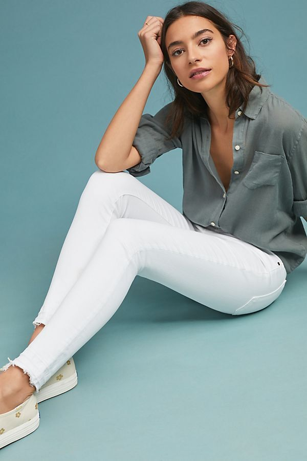 BNWT ANTHROPOLOGIE CURRENT ELLIOTT THE STILLETO MID-RISE SKINNY JEANS WHITE 32