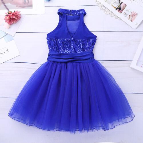 Girls Sequins Ballet Dance Dress Sparkle Leotard Tutu Skirt Ballerina Dancewear