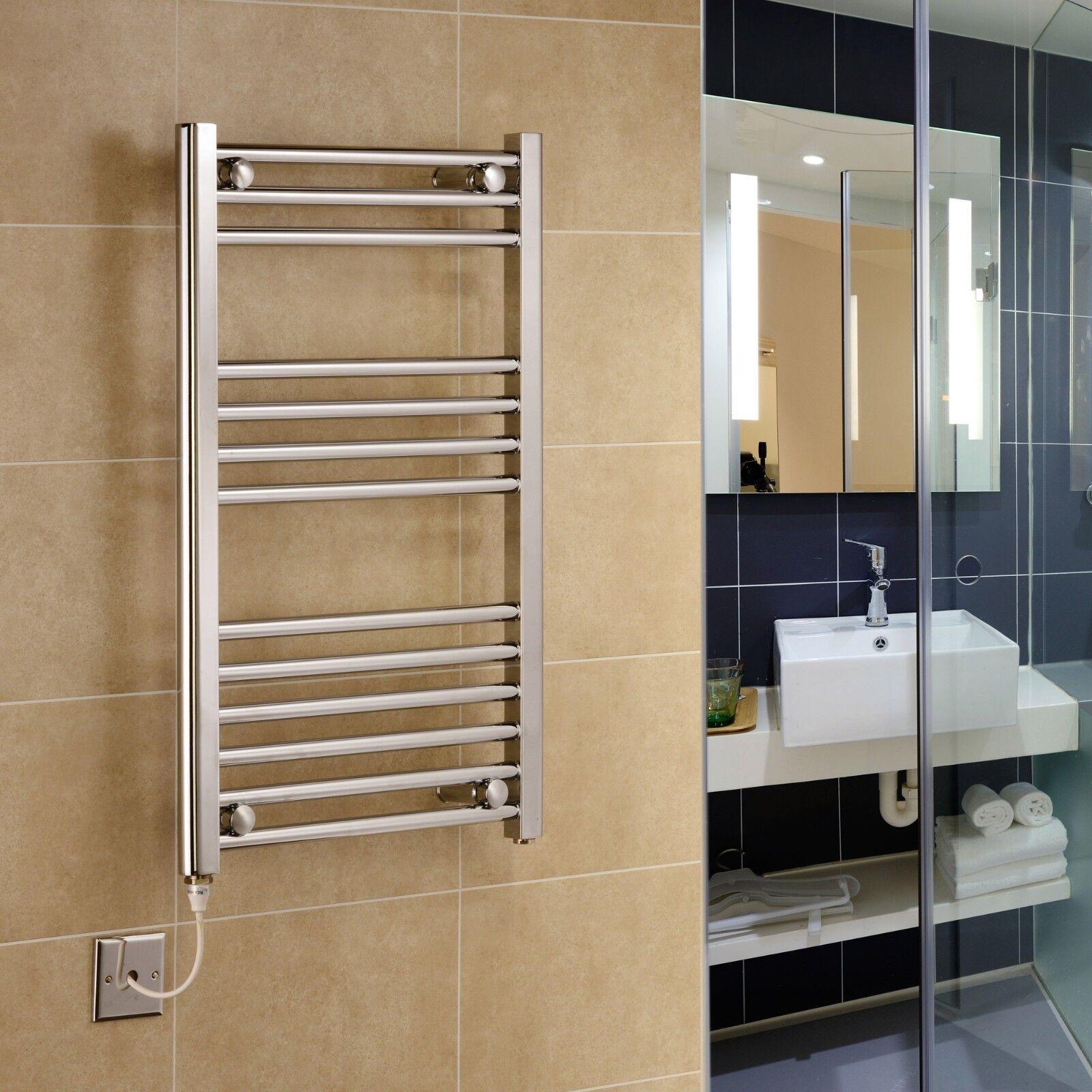 Designer Chrome électrique 600 mm large porte-serviettes chauffé serviette chauffe-Salle de Bain