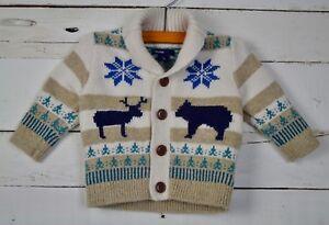 2a5f62fe8 Boys BABY GAP Sz 3 6m Brown Navy Shawl Collar Cardigan Sweater Fair ...