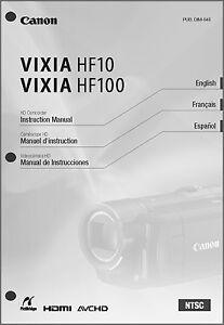 canon vixia hf10 hf100 camcorder user instruction guide manual ebay rh ebay com Canon Vixia Support Canon HF100